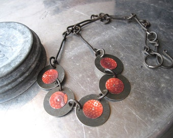 Strawberry Necklace-Indusutrial Disc Necklace-Recycled Red Tin Cans-Tin Anniversary-Disc Handmade  Steel Chain