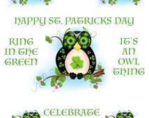 St. Patrick's Day Stationary - Owl Stationary - St. Patrick's Day Scrapbooking - Owl Download - Owl Art - Shamrock  Art - Green Paper