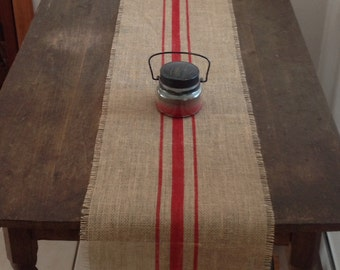 Rustic Burlap Table Runner Cardinal Red Striped Farmhouse Home Decor 10-14 x 120 by sweet janes plan