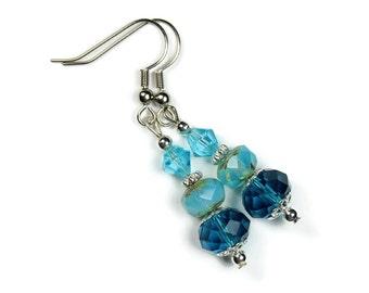"""Earrings - Handmade - Czech Glass Beads - Dangle """"Teardrops in the Night"""""""