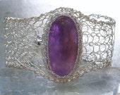 Amethyst Silver Mesh Bracelet Cuff, Knit Crochet Wire Fine and Sterling Silver Gemstone Jewelry, February birthstone