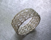 Sterling Silver Band Ring, Simple Ring, Wire Crochet Ring