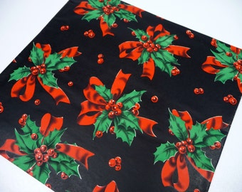 Vintage Christmas Gift Wrap Holly Bows Black Red Green 1.5 Sheets for Wrapping Paper Kitschy Retro Holiday Crafts Altered Art