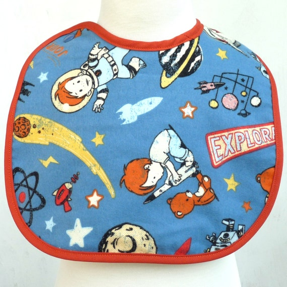 Retro feel space explorer flannel bib for Space flannel