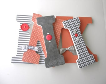 Coral & Gray Grey Custom Wooden Letters, Personalized Nursery Name Décor, Girl Bedroom, Wood Wall Decorations, Baby Shower Gift