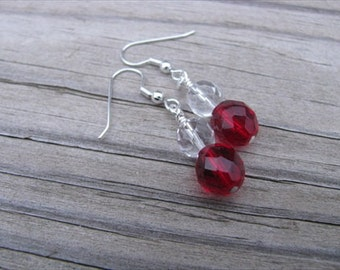 Red, Clear Glass Beaded Earrings