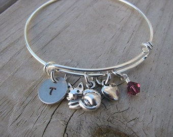 Cat Bangle Bracelet- Cat Charm, Heart, Initial, and accent bead of your choice