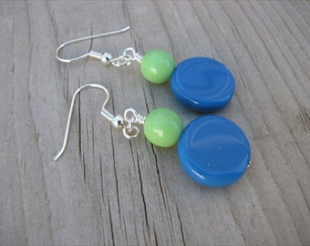 Blue Green Glass Beaded Earrings