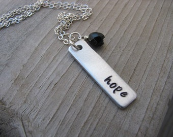 """Inspiration Necklace- Hand-Stamped Necklace-brushed silver rectangle with """"hope"""" and an accent bead of choice- Personalized Gift"""