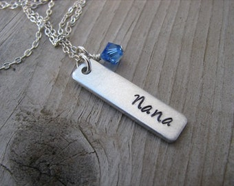 """Nana Necklace-brushed silver rectangle with """"Nana"""" and an accent bead of choice- Personalized Gift"""