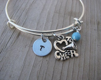 Cheerleading Bangle Bracelet- Adjustable Bangle Bracelet with Hand-Stamped Initial,  *heart* to Cheer Charm, and accent bead