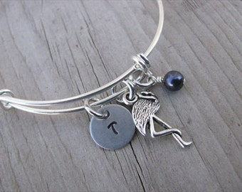 Flamingo Bangle Bracelet- Adjustable Bangle Bracelet with Hand-Stamped Initial, Flamingo Charm, and accent bead in your choice of colors