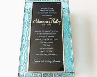 Stained Glass Keepsake Memory Box Bat Mitzvah Custom Made-to-Order Family Picture Wedding Invitation Bride Groom Photograph