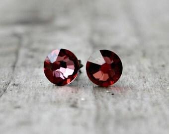 Titanium Earrings, Antique Pink Swarovski Crystal, Hypoallergenic