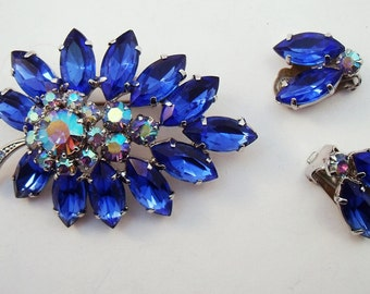 Midnight blue rhinestone brooch earring set with AB rhinestones leaf pin