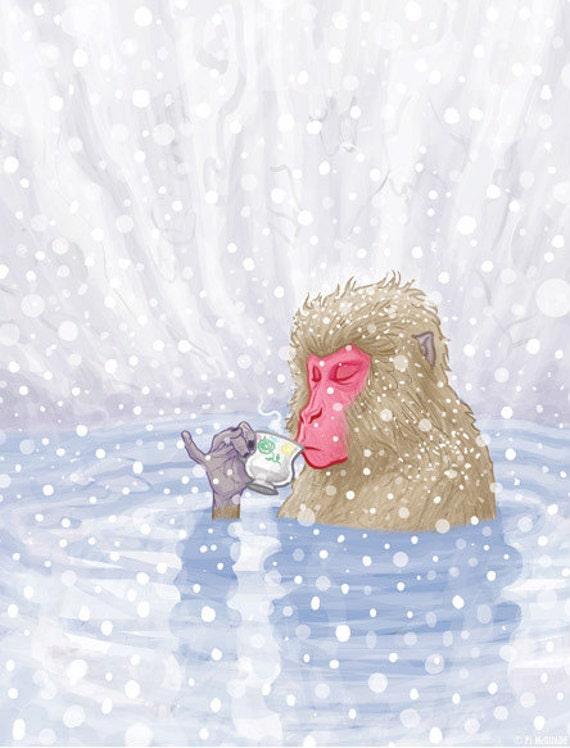 Snow Monkey Tea greeting card