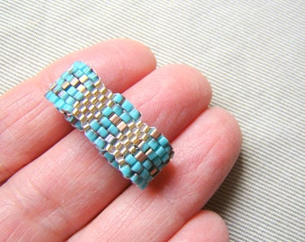 Turquoise and Gold Seed Bead Ring  Textured Waves Beaded Ring  Bead Woven Ring  Men's Ring  Plus Sizes Unisex Jewelry - RG0062
