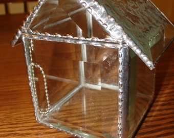 Beveled Glass House Box with Etched Glass top Display or Candle Holder