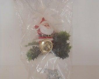 New Old Stock Vintage Christmas Decoration White Flocked Santa Boot Santa Claus
