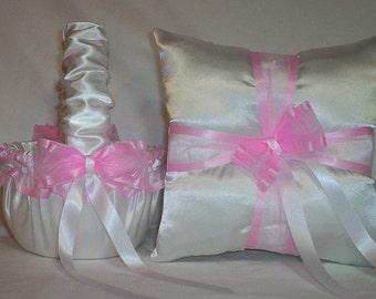 White Satin With Light Pink Ribbon Trim Flower Girl Basket And Ring Bearer Pillow Set 3