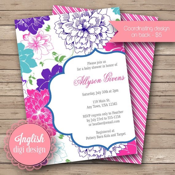 Floral Baby Shower Invitation, Floral Baby Shower Invite, Printable Baby Shower Invitation - Bold Blossoms in Fuchsia, Teal, Green, Purple