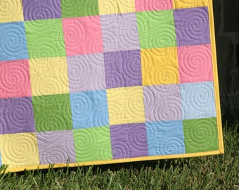Solid Baby Quilt, Pink Yellow Green Purple, Patchwork Blanket, Girl Crib Bedding, Modern Nursery Decor, Cot, Baby Girl Quilt