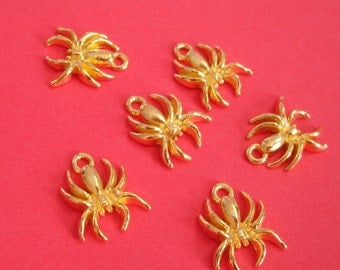6pcs- Pendants, Charm,Gold Plated,  Spider,  Insect.