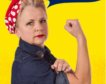 RtR-7. Riveting Rosie the Riveter Combo: BANDANA, EMPLOYMENT Badge/Collar Pin and RIVETS for Work, Party, Event Save on all 3. Retro Style
