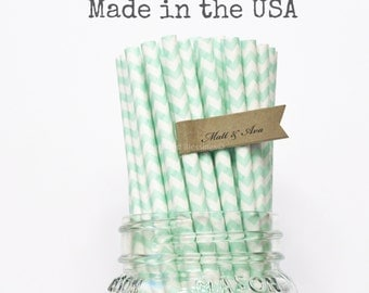 Mint Green Paper Straws, 50 Pastel Green Chevron Paper Straws, Wedding, Baby Shower, Made in USA, Rustic, Vintage Paper Goods, Table Setting