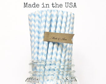 Baby Blue Paper Straws, 50 Powder Blue Chevron Light Blue Paper Straws, Made in USA, Rustic, Vintage Baby Shower, Princess Party Supplies