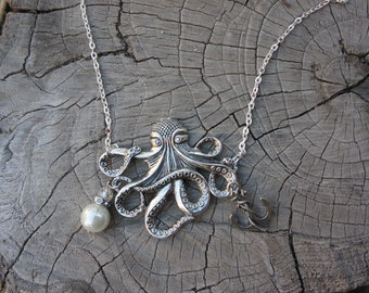 Olivia Paige -Vintage brass rock  Anchor octopus necklace with Pearl Sailor