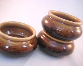 Soup Bowl - Handmade Pottery Pottersong -  Natural Oatmeal Tan - Dark Walnut Brown