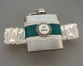 Personalized Satin & Lace FLASK GARTER -- Ivory and Teal (Other Colors Available) - Bridal Garter - Bridesmaids - Wedding Day Something Blue