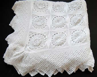 Vintage French Hand Crocheted Bed Coverlet Lacy with Sunflower Pattern