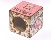 Butterfly Piggy Bank Coin Bank Wood Box with Window for Girls - Butterflies on Pink - Personalized