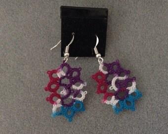 "Handmade, shuttle tatted lace earrings, ""Marquis"" in jewel tones"
