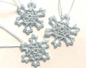 Pale Blue Hand Crochet Snowflakes, Set of Three 3 Frozen Mini 1.5 inch Snowflake Ornaments 100 Percent Cotton