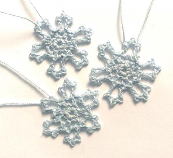 Pale Blue Hand Crochet Snowflakes, Set of Three 3 Frozen Mini 1.5 inch Snowflake Ornaments 100 Percent Cotton