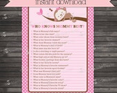 Girl Monkey Baby Shower Who Knows Mommy Best Game Printable - Girl Baby Shower Games - Instant Download - Pink Baby Shower Ideas