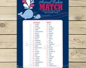Whale Baby Shower Baby Animals Match Game Printable - Instant Download - Boy Baby Shower Game - Navy Blue Baby Shower Name That Baby