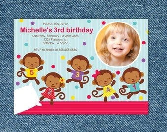 Five Little Monkeys Jumping on the Bed Birthday Invitation - Monkey Birthday Invitation Printable - Boy 1st Birthday Party - 2nd Birthday