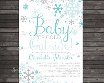 Boy Baby Its Cold Outside Baby Shower Invitation Printable - Aqua Blue Gray Winter Wonderland Baby Shower Invitations - Winter Baby Shower