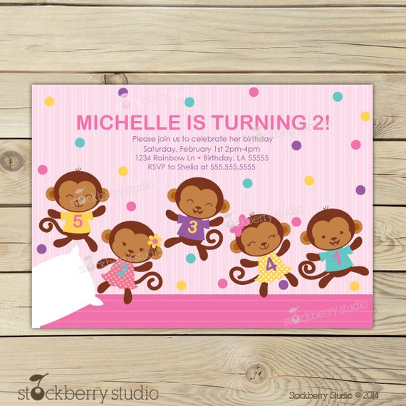 Girl 5 little monkeys invitations pink girl birthday party il570xn filmwisefo