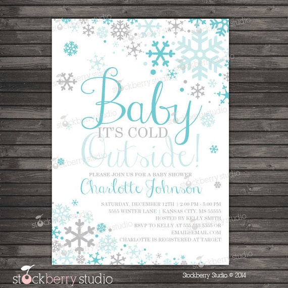 items similar to boy baby its cold outside baby shower invitation,