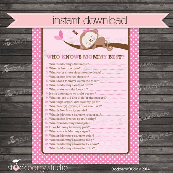 baby shower who knows mommy best game printable girl baby shower