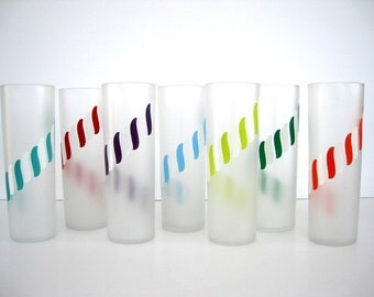 Vintage Frosted Glass Tumbler Set Tall Narrow Cooler Candy Stripe Ice Tea Tom Collins