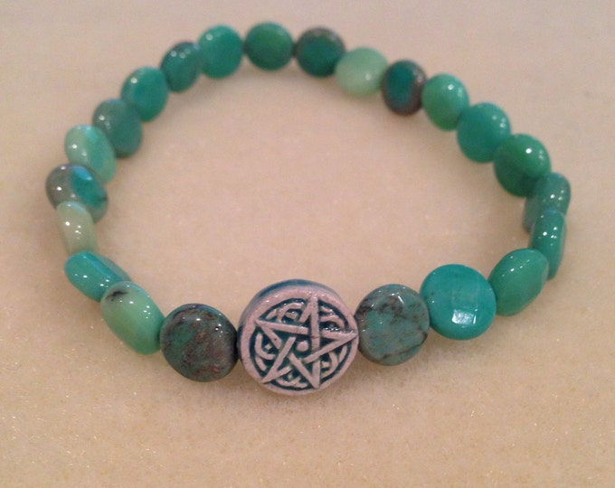 Green Moss Opal Celtic Star Bracelet - Raku Ceramic Pentacle Pentagram Bead & coin shaped faceted opals in a lovely stretch bracelet