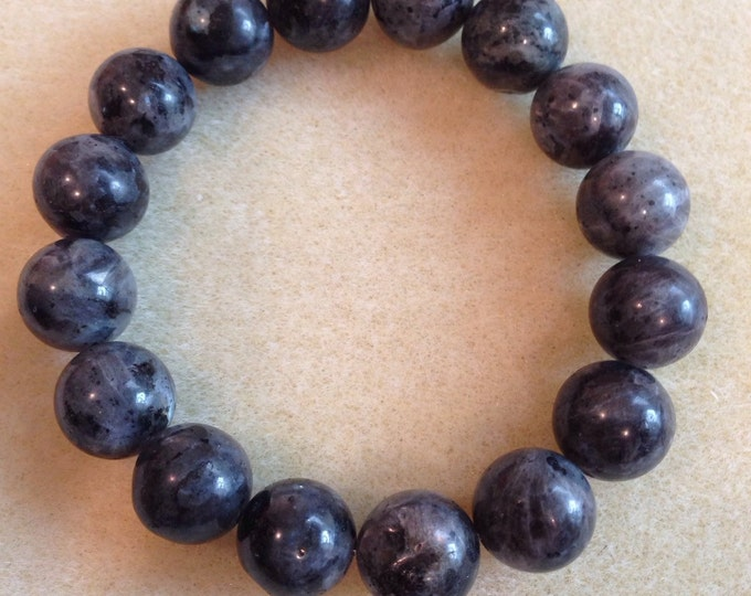 Larvikite 13mm Round Stretch Bracelet - Full moon Night Sky bracelet for psychic abilities, astral travel, weight loss & dispelling magick