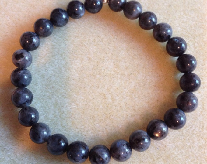 Larvikite 8mm Round Stretch Bead Bracelet with Sterling Silver Accent