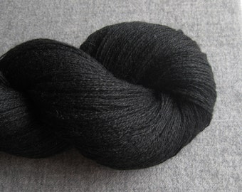 Lace Weight Silk Cashmere Recycled Yarn, Black, 760 yards, Lot 180316